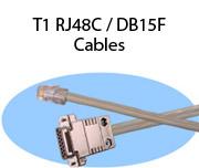 T1 RJ48C / DB15F Cables
