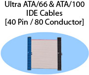 Ultra ATA/66 & ATA/100 IDE Cables (40 Pin / 80 Conductor)