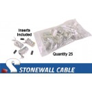 Cat5e Rated Shielded RJ45 with Strain Relief (25/Pkg.)