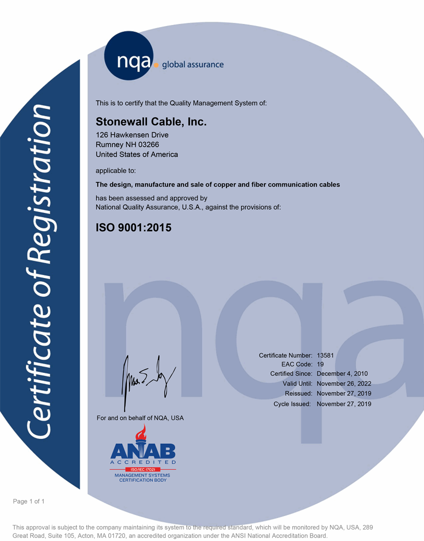 ISO 9001 Certification - Stonewall Cable, Inc.